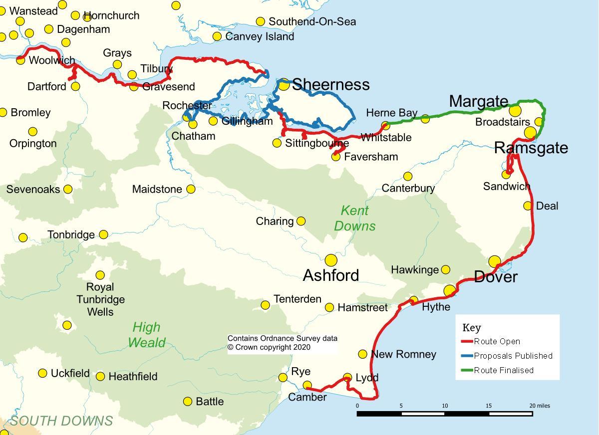 Map Of England Kent.Kent Ramblers Coastal Access